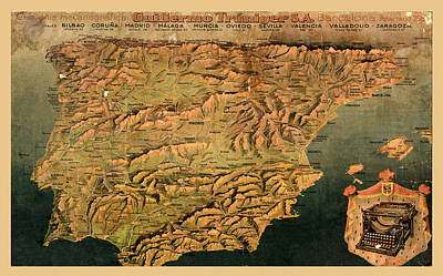 Underwood Typewriter Photograph - Map Of Spain 1930 by Andrew Fare
