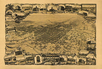 Map Of Stockton 1895 Art Print