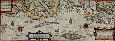 Vintage Map Photograph - Map Of Sweden 1606 by Andrew Fare