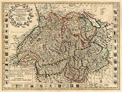 Vintage Map Photograph - Map Of Switzerland 1721 by Andrew Fare