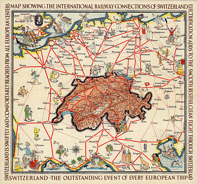 Photograph - Map Of Switzerland 1933 by Andrew Fare