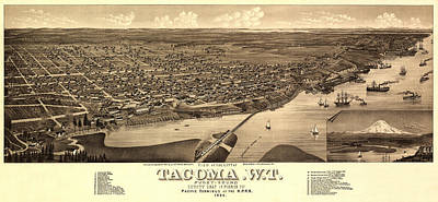 Photograph - Map Of Tacoma 1884 by Andrew Fare