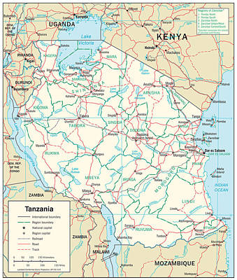Continent Mixed Media - Map Of Tanzania by Roy Pedersen