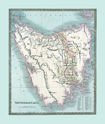 Photograph - Map Of Tasmania 1835 by Andrew Fare