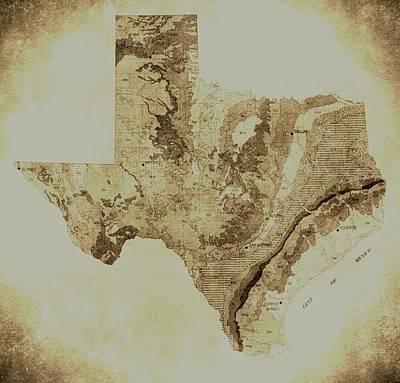 Map Of Texas In Vintage Art Print