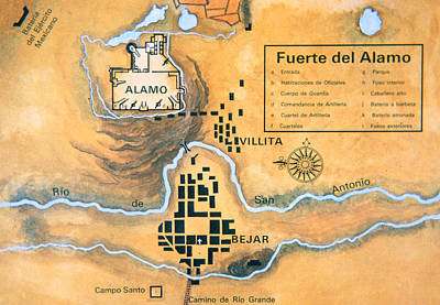 The Alamo Drawing - Map Of The Alamo Area In San Antonio by Mexican School