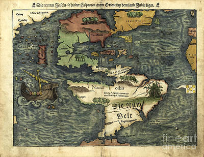 Photograph - Map Of The Americas 1550 by Photo Researchers