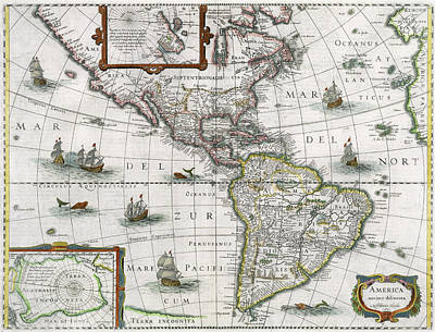 Mapping Painting - Map Of The Americas by Henricus Hondius