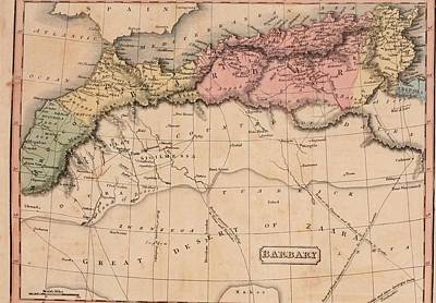 Map Of The Barbary States Of North Art Print by Everett