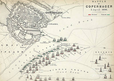 Harbor Drawing - Map Of The Battle Of Copenhagen by Alexander Keith Johnston