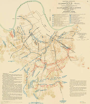 Tennessee Map Drawing - Map Of The Battle Of Nashville - American Civil War by Mountain Dreams