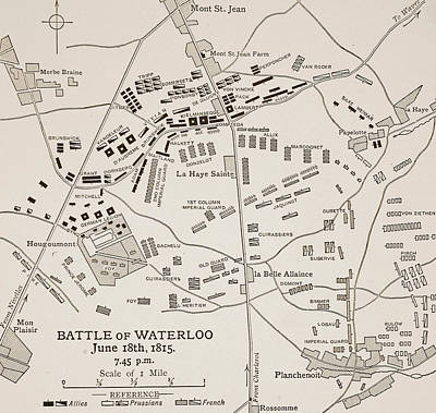 The Duke Drawing - Map Of The Battle Of Waterloo by English School