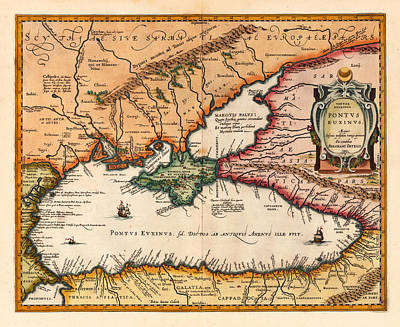 Photograph - Map Of The Black Sea by Andrew Fare
