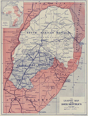 South Africa Drawing - Map Of The Boer Republics by English School