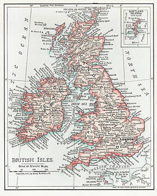 Drawing - Map Of The British Isles 1900 by Unknown
