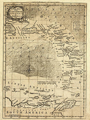 Photograph - Map Of The Caribbean 1761 by Andrew Fare
