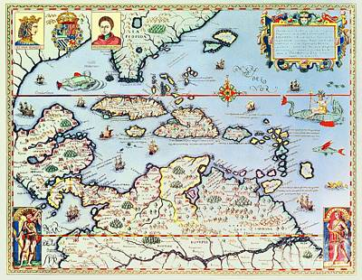 Map Of The Caribbean Islands And The American State Of Florida  Art Print by Theodore de Bry