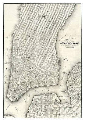 Old Map Painting - Map Of The City Of New York - 1860 by Pablo Romero