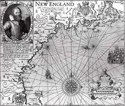 Boston Drawing - Map Of The Coast Of New England by Simon de Passe