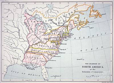 Independence Drawing - Map Of The Colonies Of North America At The Time Of The Declaration Of Independence by American School
