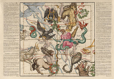 Royalty-Free and Rights-Managed Images - Map of the Constellations Hercules, Sagittarius, Scorpius, Libra - Celestial Map - Antique map by Studio Grafiikka