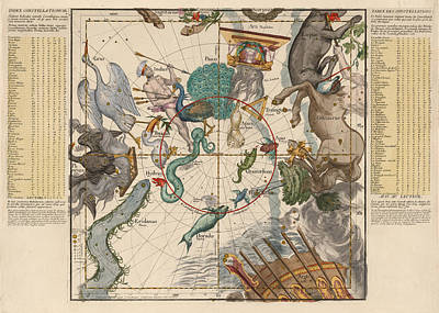 Royalty-Free and Rights-Managed Images - Map of the Constellations Hydra, Indus, Chameleon, Apus, Centaurus - Celestial Map - Antique Map by Studio Grafiikka