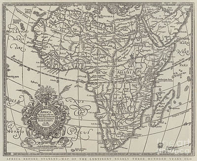 Map Of Africa Drawing - Map Of The Continent Of Africa Nearly Three Hundred Years Old by English School
