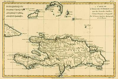 Dominican Drawing - Map Of The Dominican Republic Circa by Vintage Design Pics