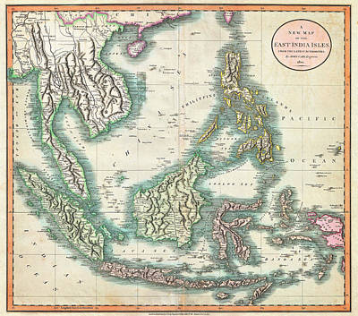 Southeast Asia Painting - Map Of The East Indies And Southeast Asia  by Celestial Images