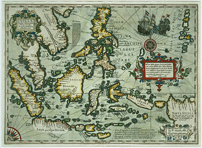 Island Drawing - Map Of The East Indies by Dutch School