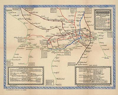 London Tube Drawing - Map Of The Electric Railways Of London - London Underground - 1920 - Historical Map by Studio Grafiikka