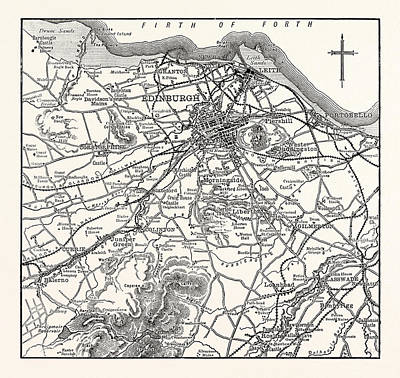 City Map Drawing - Map Of The Environs Of Edinburgh by British School
