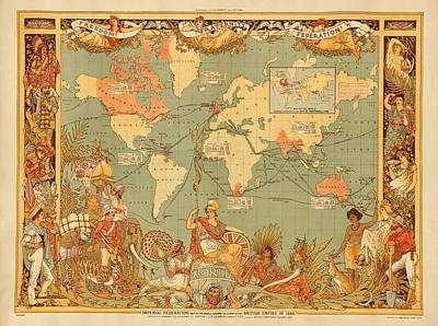 1880s Drawing - Map Of The Extent Of The British Empire 1886  by Mountain Dreams