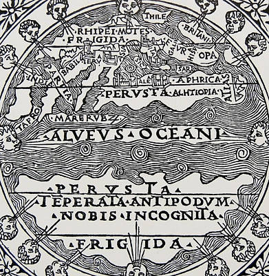 Angels Drawing - Map Of The Extent Of The Known World In Greek Times by Greek School
