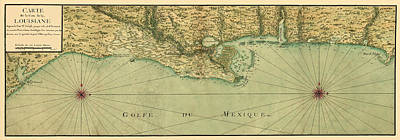 Vintage Map Photograph - Map Of The Gulf Coast 1732 by Andrew Fare