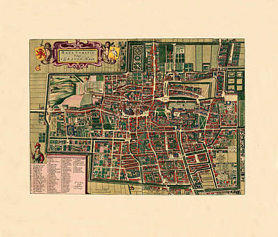 Map Of Netherlands Photograph - Map Of The Hague 1695 by Andrew Fare