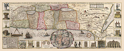 Photograph - Map Of The Holy Land 1642 by Andrew Fare