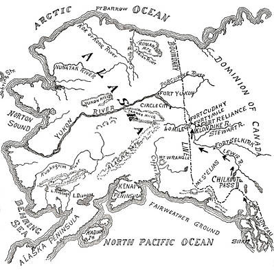 Alaska Drawing - Map Of The Klondike Gold Diggings And Vicinity, Alaska by American School