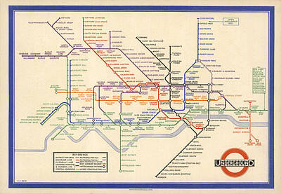 Thomas Kinkade Royalty Free Images - Map of the London Underground - London Metro - 1933 - Historical Map Royalty-Free Image by Studio Grafiikka