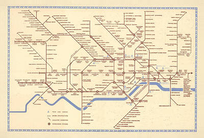 Royalty-Free and Rights-Managed Images - Map of the London Underground - London Metro - Railway Map - Metro line, London by Studio Grafiikka