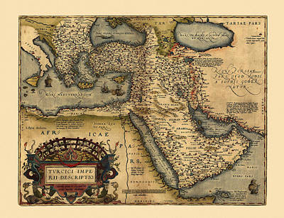 Photograph - Map Of The Middle East 1600 by Andrew Fare