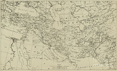 Drawing - Map Of The Middle East Circa 1918 by American School