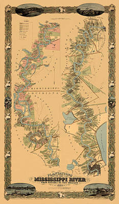 Map Of The Mississippi River 1858 Art Print by Andrew Fare