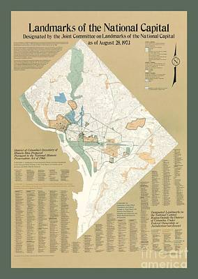 Map Of The National Capitol Landmarks Art Print by Pd