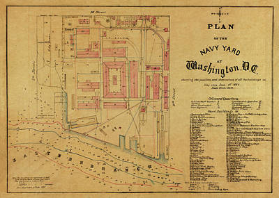 Photograph - Map Of The Navy Yard 1881 by Andrew Fare