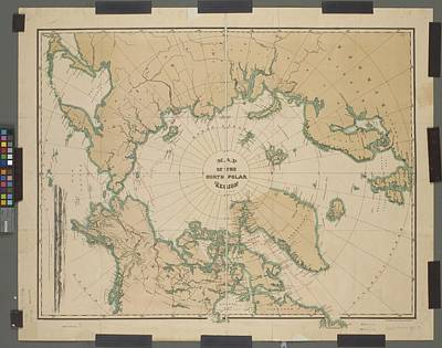 Photograph - Map Of The North Polar Region by Lf