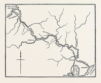 Pacific Ocean Drawing - Map Of The Panama Railroad by American School