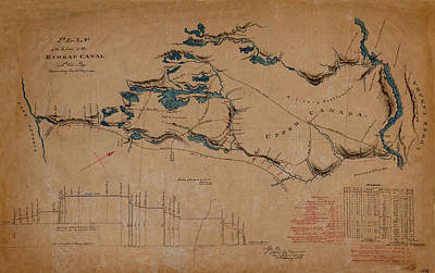 Photograph - Map Of The Rideau Canal 1829 by Andrew Fare