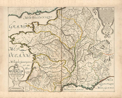 Drawings Royalty Free Images - Map of The Rivers of France - historic Map of France - Antique Maps Royalty-Free Image by Studio Grafiikka