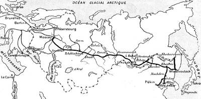 Siberian Wall Art - Drawing - Map Of The Route Of The Trans Siberian Railway by French School